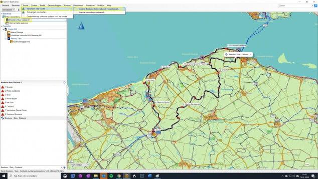 Verzenden route BaseCamp naar Garmin GPS geheugenkaart opgeslagen